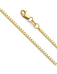 14k Yellow OR White Gold SOLID 1.1mm Box Link Chain Necklace with Lobster Claw Clasp