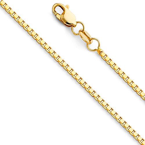 14k Gold Box Chain (14k Yellow Gold SOLID 1.1mm Box Link Chain Necklace with Lobster Claw Clasp - 18