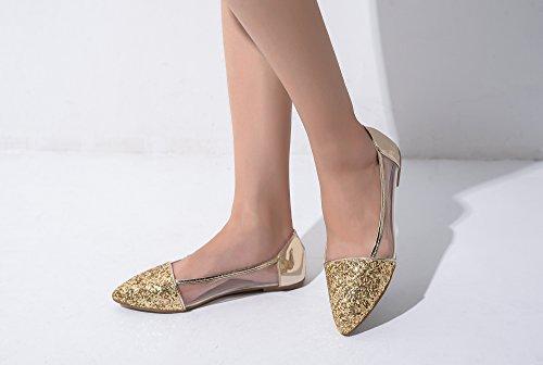 Mila Lady Mavis Fashion Nouveau Mousseux Glitter Embellir Glissement Mocassins Ballet Chaussures Plates. Or