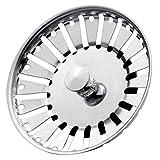 Stadux Stainless Steel Kitchen Sink Strainer Plug, Dual Function Basket Strainer and Plug | Sized for UK Sinks | Strainer Waste Plug (Diameter:84mm)