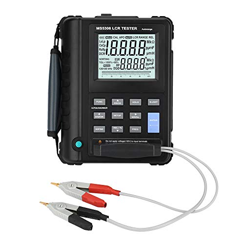 Digital LCR Meter,MS5308 100Khz Portable Handheld Professional LCR Tester Inductance Resistance Capacitance Multimeter with Dual LCD Display,High Measurement Accuracy