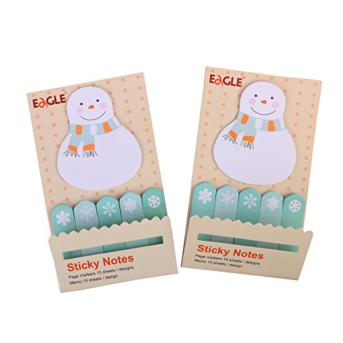 (Eagle Cute Cartoon Sticky Notes, Bookmarks, Page Markers, Memo, Flag Sticky Notes, 2-Pack, Holiday Gift (Snowman))