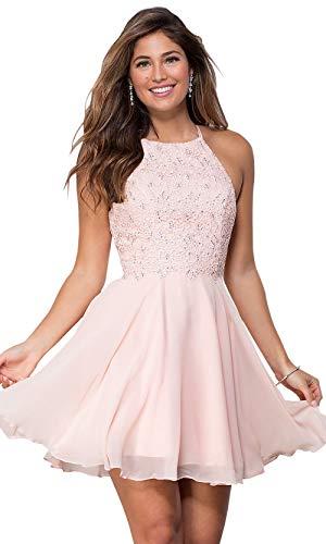 Women's Open Back Beaded Chiffon Lace Homecoming Dress Halter Short Ball Gown Blush Pink Size 4