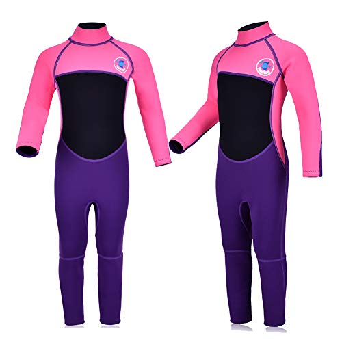 REALON Kids Wetsuit Shorty Boys Girls 3mm Neoprene One Piece Thermal Swimsuit 2mm Warm Full Long Sleeve Wet Suits Cover Toddler Child Junior Youth Swim Surf Dive (Pink 2mm Girl