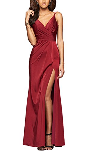 LaceLady Women's V Neck Prom Dress Spaghetti Strap Long Evening Gown with Slit Burgundy US6