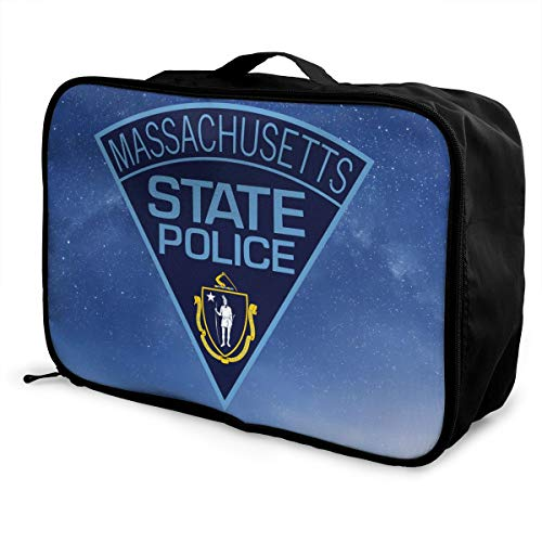 Massachusetts State Police Travel Duffel Bag Multifunctional Fashion Water Resistant Lightweight Carry Tote Duffle With Trolley - Massachusetts Bag