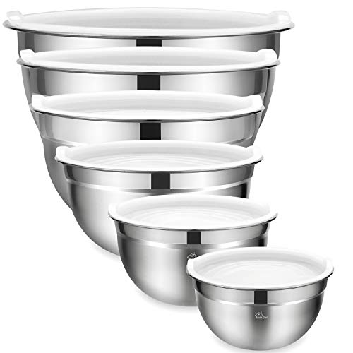 Mixing Bowls Set of 6, Premium Stainless Steel Mixing Bowl with Airtight Lids by Umite Chef, Great for Mixing, Beating Bowls Nesting & Stackable for Convenient ()