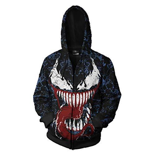 (Venom Hoodie,3D Venom Hoodie Costume for Men Printed Zipper Hoodie Sweatshirt)