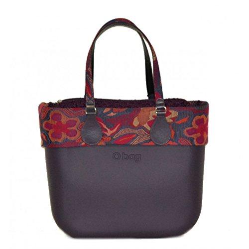 Borsa O bag grande viola con bordo e manico lungo folk flower