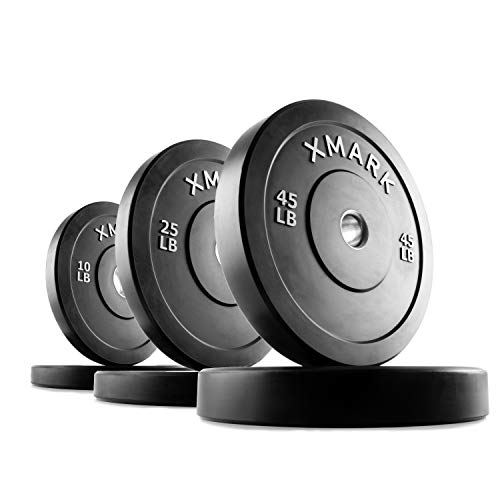XMark Black Olympic Bumper Plates,, Heavy Duty Stainless Steel Inserts, Built Tough, Tough, 160 lb. Set For Sale