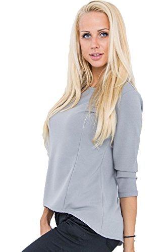 Fashion - Camiseta de manga larga - para mujer gris