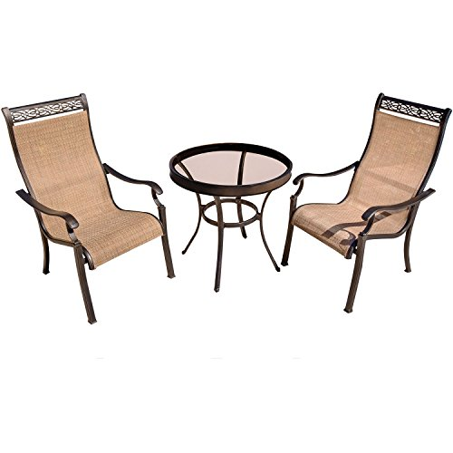 Hanover MONDN3PCG Monaco 3 Piece Bistro Set Outdoor Furniture, Tan/Bronze