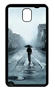 Rainy Street Noire Illustration Custom Designer Samsung Galaxy Note 3 / Note III/ N9000 - TPU - Black