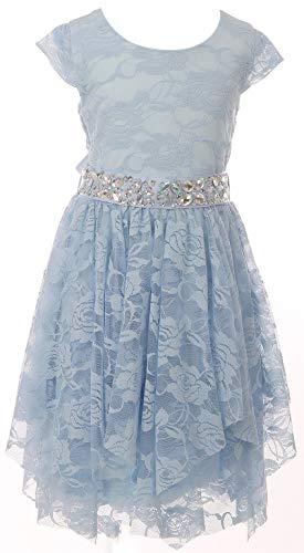 BluNight Collection Big Girls Cap Sleeve Floral Lace Rhinestones Belt Asymmetrical Birthday Flower Girl Dress Ice Blue 12 -
