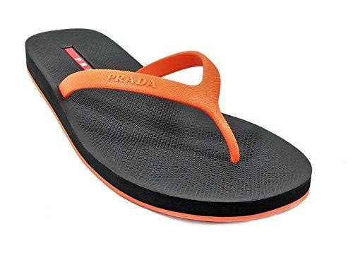 Prada Men's Rubber Flip-Flop Sandals, Orange/Black 4Y2714 (US 9.5 UK - Prada Bag Uk