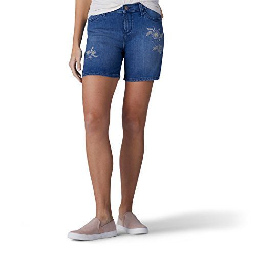 LEE Women's Modern Series Midrise Fit Cora Embroidered Short, soar, 12 - Embroidered Denim Skort