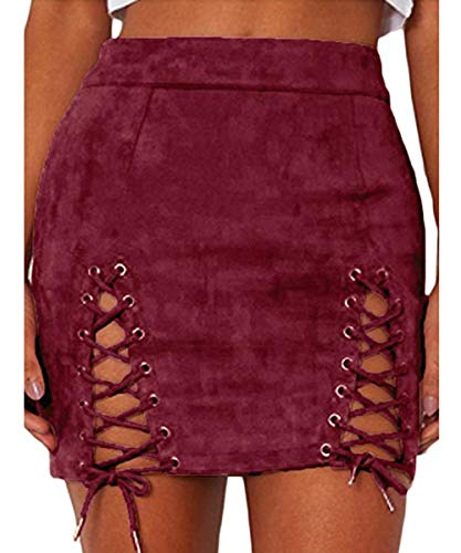 Aliwendy Women Sexy Criss Cross Tight Bodycon High Waist Faux Suede Stretch Mini Skirt(Wine Red - Mini Suede