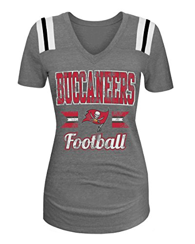 Ocean Tampa Bay (NFL Tampa Bay Buccaneers Women's Tri-Blend Short Sleeve V-Neck Shirt, X-Large, Gray)