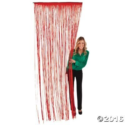 Red Photo Door (Red Foil Fringe Curtain –2 Pack 3' X 8' (36