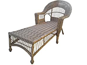 Wicker Paradise CC11-W-Navy Madison Outdoor Chaise, White/Navy