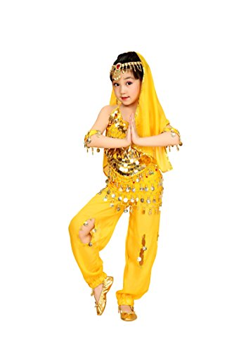 So Sydney Girls Kid Childrens Deluxe Belly Dancer Halloween Costume Complete Set (XL (14/16), Yellow) ()