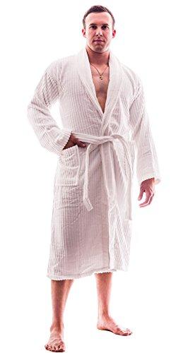 Up2date Fashion's Men Terry Velour Cotton Bathrobe S/M White
