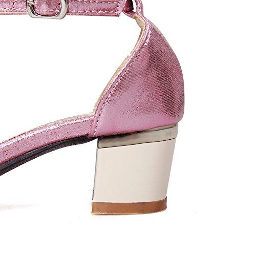 Amoonyfashion Vrouwen Pu Stevige Gesp Open Teen Kitten-hakken Sandalen Met Metalen Roze