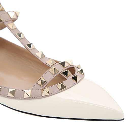 Comfity Vrouwen Puntige Teen Rockstud Flats Strappy Ballerina Schoenen Wit-patent