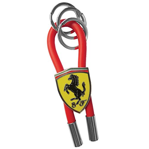 Ferrari Red Shield Rubber Strap Keychain With Metal Scudetto