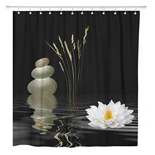 (ArtSocket Shower Curtain Zen Abstract of Grey Spa Stones White Lotus Lily Home Bathroom Decor Polyester Fabric Waterproof 60 x 72 Inches Set with Hooks)