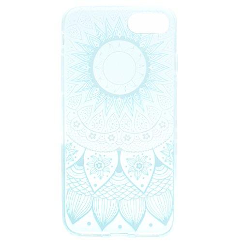 iPhone 8 Hülle , Leiai Modisch Blaue Blume TPU Transparent Clear Weich Tasche Schutzhülle Silikon Handyhülle Stoßdämpfende Schale Fall Case Shell für Apple iPhone 8