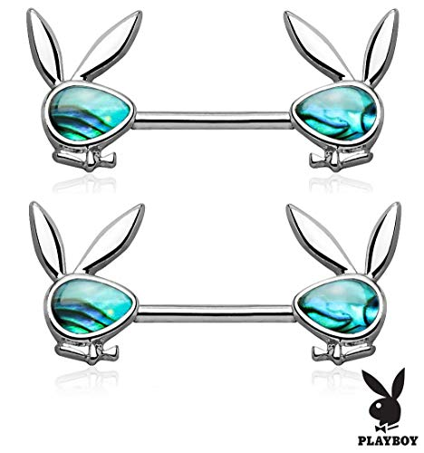 Forbidden Body Jewelry Surgical Steel Abalone Shell Playboy Bunny Emblem Nipple Barbells (Silver ()