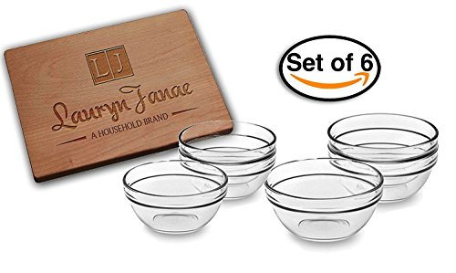 "Lauryn Janae Premium Glassware Mini 3.5"" inch Stackable Glass Kitchen Prep, Dipping Sauce, Dessert, Custard, Pinch, Candy Dish or Nut Bowls (Set of 6)"
