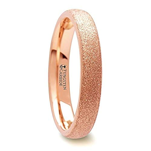 EMBER Domed Tungsten Carbide Ring with Rose Gold Plating and Sandblasted Crystalline Finish - 4 mm & 8 mm