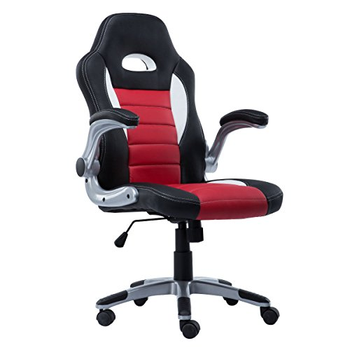 Giantex Pu Leather Bucket Seat Office Chair, Red