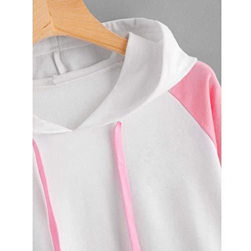 coloré Taille Capuche Blanc Longues Sweat Femmes Manches Large Pour À Fuxitoggo 6z0gwSq0