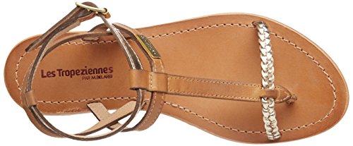 Les Tropéziennes par M. Belarbi Women's Hilatres Ankle Strap Sandals, Black/Gold Brown (Miel/Or 524)