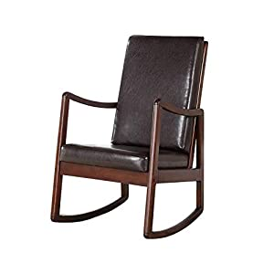 Benjara, Brown Wooden Framed Rocking Chair with Leatherette Cushioned Seat and Back