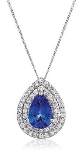 2.60CT Certified G/VS2 Pear Shape Tanzanite Centre with Micro Set Pear Shape Halo Diamond Pendant in 18K White Gold