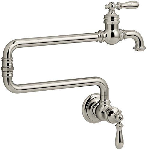 Nickel Polished Filler - KOHLER K-99270-SN Artifacts Single-Hole Wall-Mount Pot Filler Kitchen Sink Faucet with 22-Inch Extended Spout, Vibrant Polished Nickel