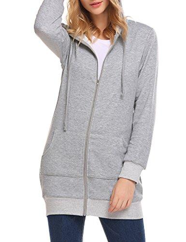 MISELON Women's Casual Zip Up Hoodies Pockets Tunic Sweatshirt Long Hoodie Outerwear Jacket S Black