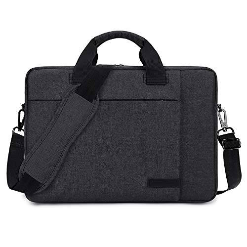 Laptop Bag 15.6 Inch Nylon Business Briefcase Lightweight Office College Messenger Bag Water Resistant Shoulder Bag with Adjustable & Detachable Strap Fits Computer Notebook for Men Women, Black