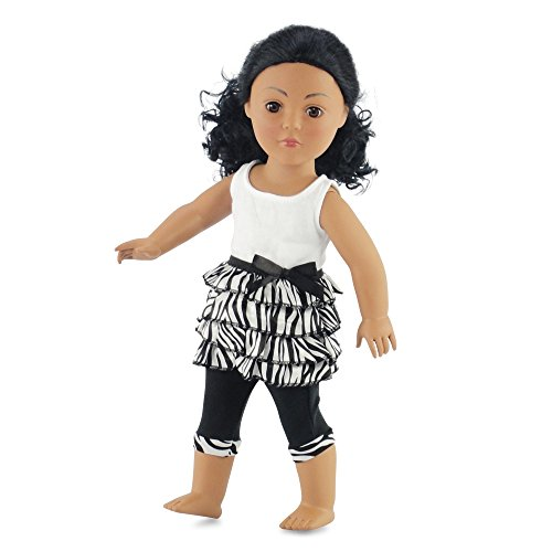 (18 Inch Doll Clothes Zebra Ruffled Shirt & Capri Leggings | Outfit Fits 18