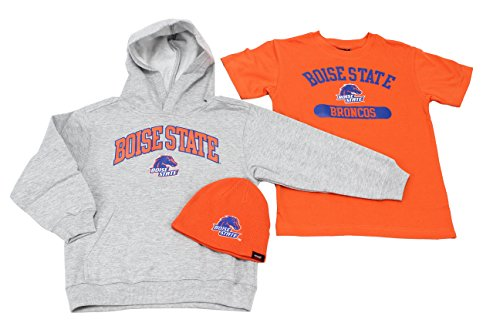 Genuine Stuff Boy's Youth Boise State Broncos 3 Pack Set Hat Hoodie and T-Shirt