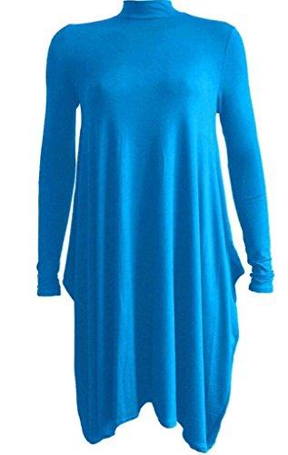 Turquoise Polo Dress - Plain Long Sleeves Turtle Neck High Polo Neck Skater Dress TURQUOISE US 20/22