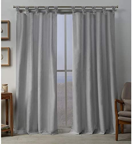 Exclusive Home Curtains EH8480-01-2108L Loha Linen Braided Tab Top Curtain Panel Pair