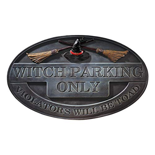 (Design Toscano Witch Parking Sign Wall Sculpture - Witch Figure - Halloween Prop)