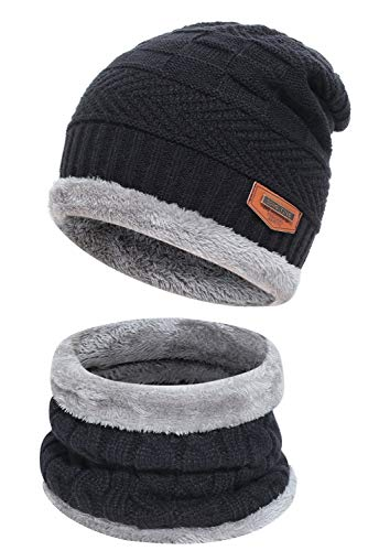 Men's 2-Pieces Winter Beanie Hat Scarf Set Warm Knit Hat Thick Fleece Lined Winter Cap Scarves for Men Women 1