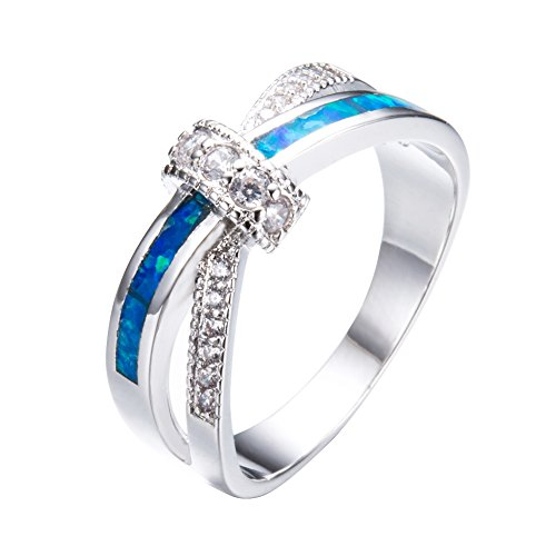 Bamos Jewelry Womens X Cross Gift Promise Engagement Ring Blue Lab Opal White Gold Plated Copper Rings for Women Size 5-11