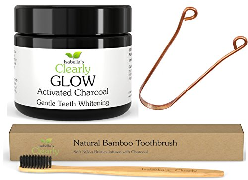 Isabella's Clearly GLOW 4-Piece KIT - Best Teeth Whitening Activated Charcoal + BAMBOO Soft Toothbrush + COPPER Tongue Scraper + Reusable Eco-Friendly Gift Bag. Food-Grade, Natural, Organic Oral Care.